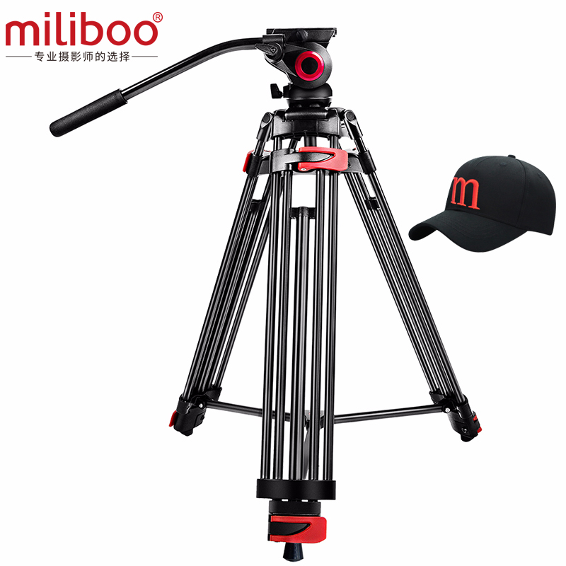 miliboo MTT602A Professional Portable Aluminum Fluid Head Camera Tripod for Camcorder/DSLR Stand Video Tripod 76  Max Height image
