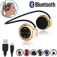 Fashion Sports Bluetooth Headphones Portable Neckband Wireless Headsets Stereo Earphone Micro SD Card FM Radio Earphones