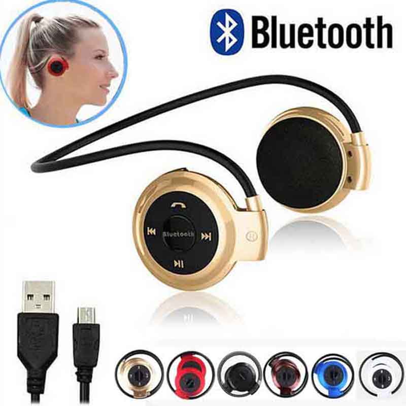Fashion Sports Bluetooth Headphones Portable Neckband Wireless Headsets Stereo Earphone Micro SD Card Earphones