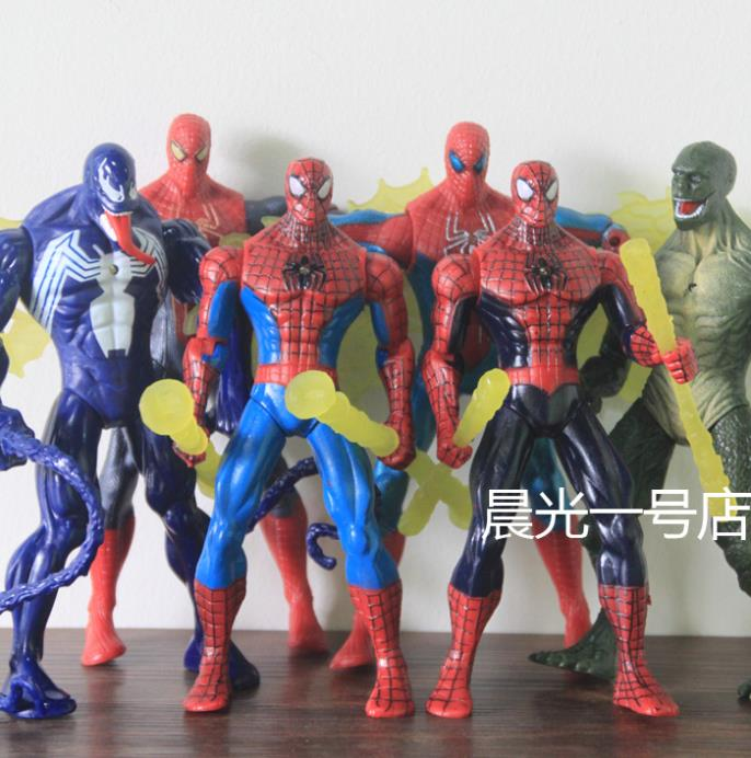 Free Shipping comic book hero <font><b>Amazing</b></font> <font><b>Spider-Man</b></font> toys, <font><b>lizards</b></font> Dr. villain Venom 7-inch <font><b>action</b></font> <font><b>figure</b></font> can be emit light full 6