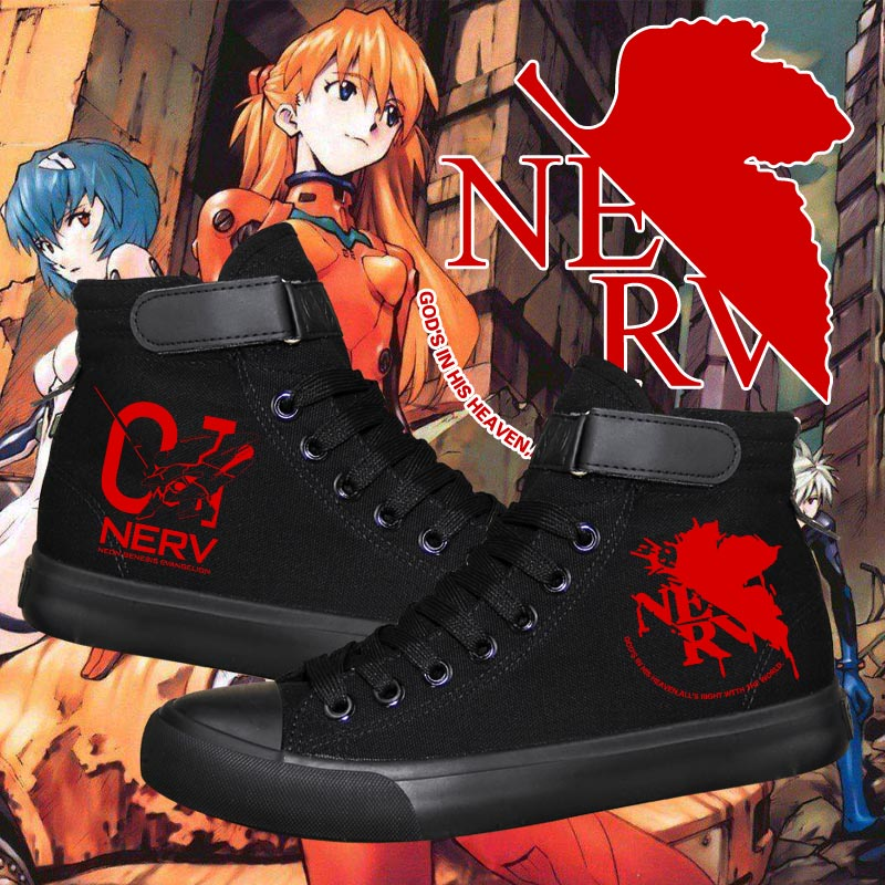 Anime EVA Evangelion Printed Canvas Man Shoes Casual High Top Plimsolls Sneakers