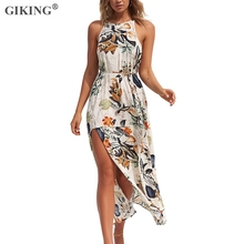 GIKING 2019 Summer Bench Maxi Dress Women Floral Print Sleeveless With Belt Boho Party Womens Split Holiday Long Vestidos