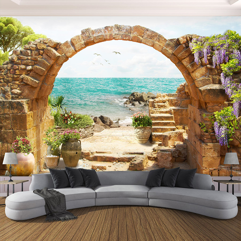цены Custom Wall Mural Wallpaper Garden Stone Arches Sea View 3D Photo Wallpaper For Living Room Sofa Bedroom Backdrop Large Murals