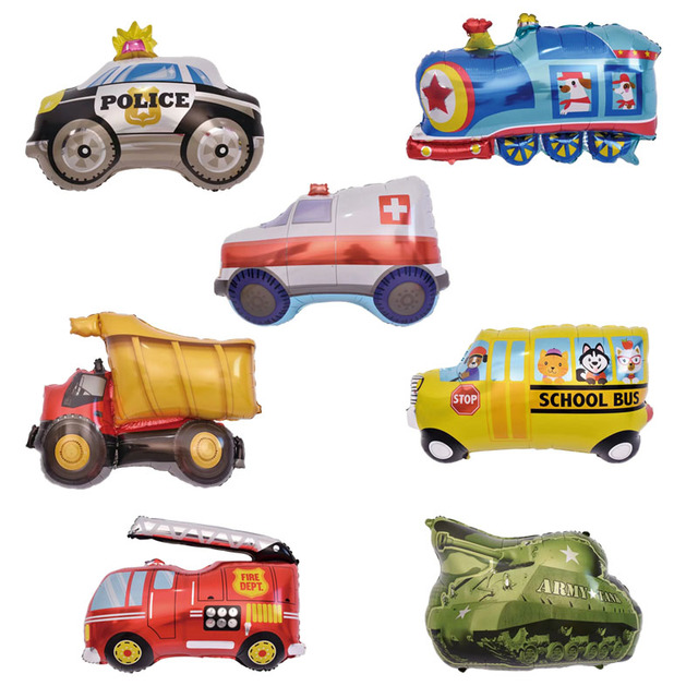 DIY Cartoon Car Balloons Fire Truck Train Foil Balloon Ambulance Globos Children Gifts Birthday Party