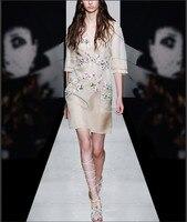 Винтажные шелковой органзы Florals v образным вырезом Женские 2018 летнее платье 2 шт. комплект для вечеринки Vestidos платье макси платья женская оде