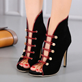 black High heels stiletto sexy banquet bridal shoes Elastic band Rivet Women's shoes with heels buckle red pumps shoes for women
