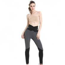 US Lady Splice sports Leggings black gray patchwork cross strap bow High waist Elastic slim women Gym active pants