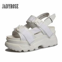 Jady Rose Summer White Women Casual Sandals Genuine Leather Female Creepers Comfortable 6CM Heel Shoes Woman