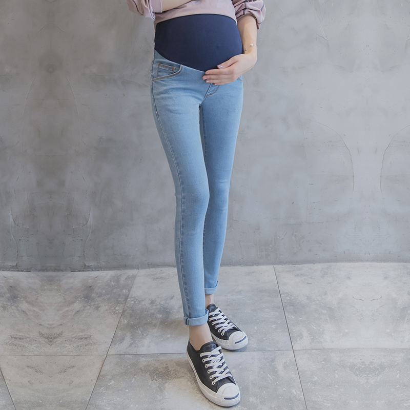 Light Blue Washed Denim Maternity Jeans Skinny Pencil Trousers Clothes for Pregnant Autumn Summer Pregnancy