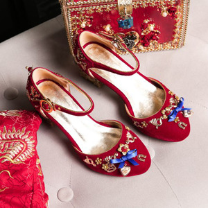 Image 4 - Phoentin blue velvet mary jane shoes flowers heart shaped decoration strange metal heels butterfly knot buckle pumps shoes FT268