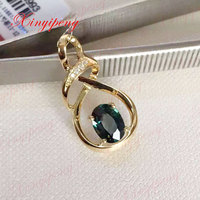 dark blue Color jewelry Women 18 k yellow gold inlaid 100% natural Sapphire pendant necklace fashion accessories