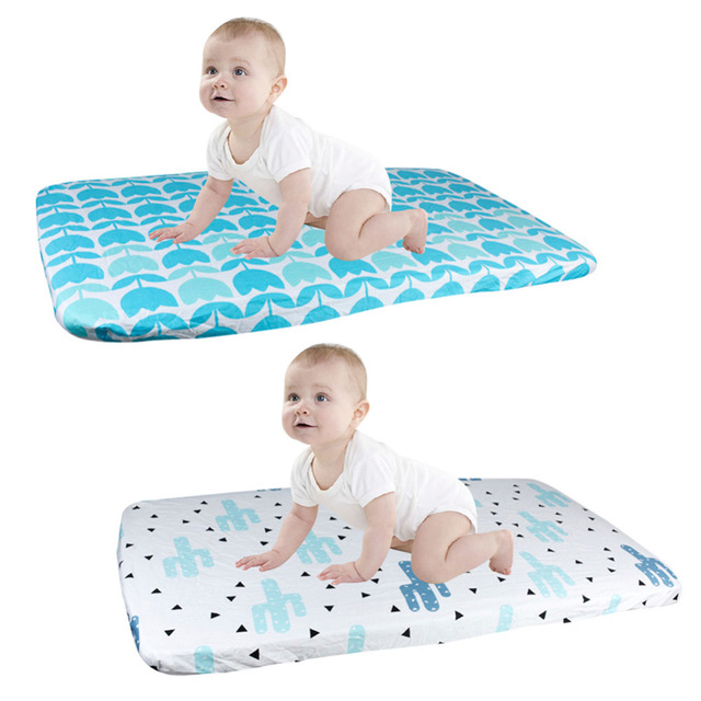 Baby Bedding Sheets Supplies 100% Cotton Jersey Knit Crib Fitted Sheet Bed Cover Urinal Pad Waterproof Sheet Changing Mat