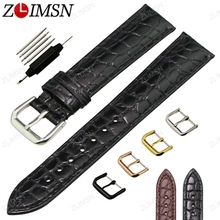 ZLIMSN Crocodile Grain Genuine Leather Watchband Black Brown Watch Strap 18 20mm Metal Buckle Watches Accessories Relojes Hombre