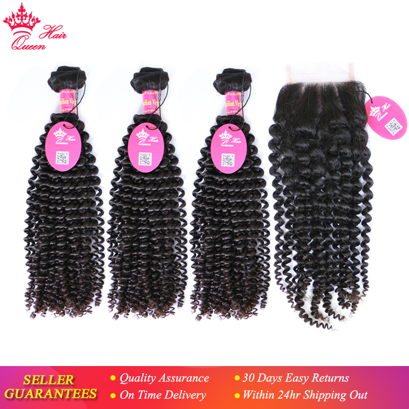 """Queen Hair Products Brazilian Kinky Curly Bundles With Lace Closure Free Part Virgin Human Hair 12"""" to 28"""" Natural Color"""