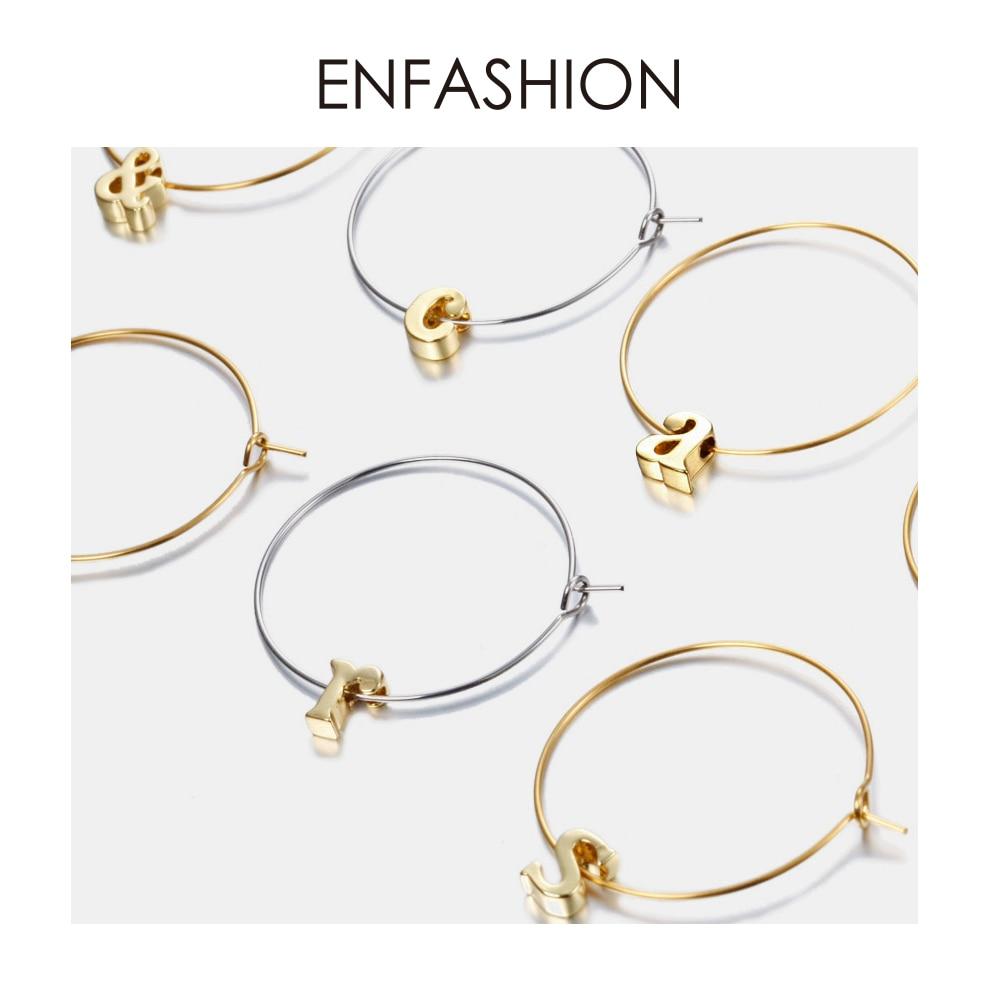 Enfashion Letter Hoop Earrings Gold Plated Earings Alfabet Initial Round Earrings For Women DIY Jewelry oorbellen ohrringe handbag