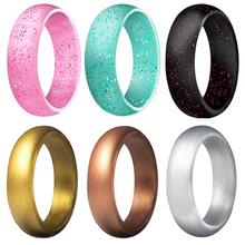 1PC  glitter powder silicone ring unisex couple shiny gradient candy color circle jewelry gift Korean fashion