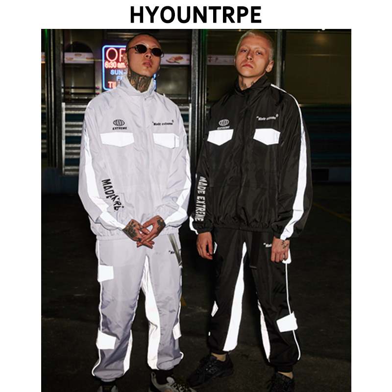 2 Pieces Sets Men Fashion Reflective Cargo Pockets Full Zipper Jackets And Loose Fit Pants With Belt Hip Hop 2019 New Spring Set