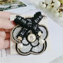 CX-Shirling Women Camellia Brooch Pins Broach Big Size Dress Vintage Luxury Brand Pearl Letter 5 big Black Flower Pin