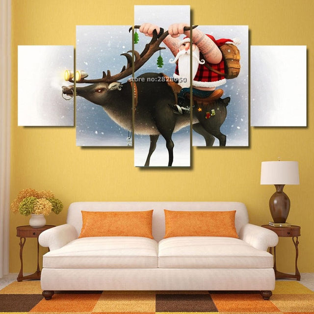 5 Panels Lovely Santa Claus And His Reindeer Canvas Painting Art ...