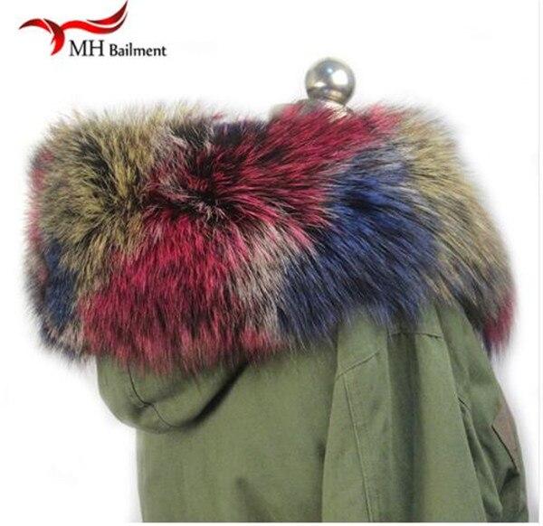 Шарф из натурального меха, пальто с меховым воротником, Женское зимнее пальто, меховые шарфы, роскошный мех енота, настоящий зимний теплый шейный платок - Цвет: C