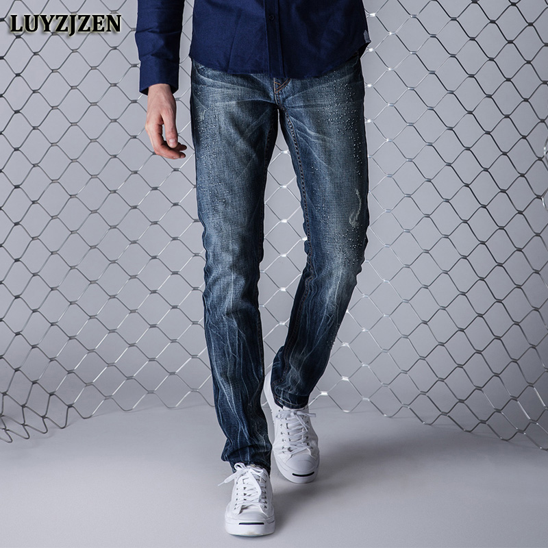Jeans Men High Quality Casual Denim Cotton Biker Jean Regular Pants Big Size Long Trousers Slim Fit Brand Clothing F8 men s casual pleated stretch denim biker jeans for moto pockets cargo pants slim long trousers