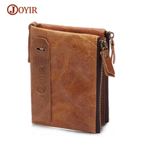 JOYIR Crazy Horse Men Wallets Cowhide Leather Male Wallet Short Coin Purse Vintage Zipper Wallet Brand