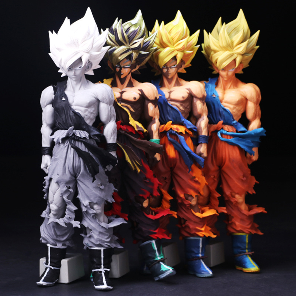 Love Thank You Dragon Ball Z Son Goku Super SaiYan Golden Manga Black white Battle PVC Figure Anime Hobbies Model toy doll gift love thank you game watch genji white