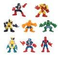 8 pcs Captain America 3 Hulk Iron man action figurines set 6cm 2016 New  the avengers Wolverine X - men action figures toys  set