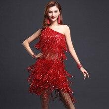 Elegant Sexy Unequal Girls Sequins Fringe Tassel Skirt Ladies Latin Tango Ballroom Salsa One-Shoulder Dance Dress For Women A9