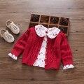 2017 Otoño Giro de Punto Cardigans Suéteres Ropa de Los Niños de los Bebés Lindos Niños Pequeños de Algodón Princesa Del Todo-Fósforo Punto A76