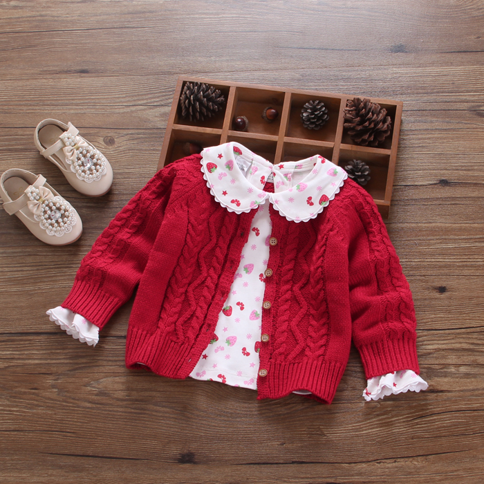 2018 Fall Baby Girls Cute Twist Knitted Sweaters Clothes Children's Cardigans Little Kids Cotton All-Match Princess Knitwear A76 цены