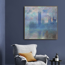 Houses of Parliament by Monet Canvas Painting & Calligraphy Decor Pictures Posters For House Living Room Bedroom Home Wall Art