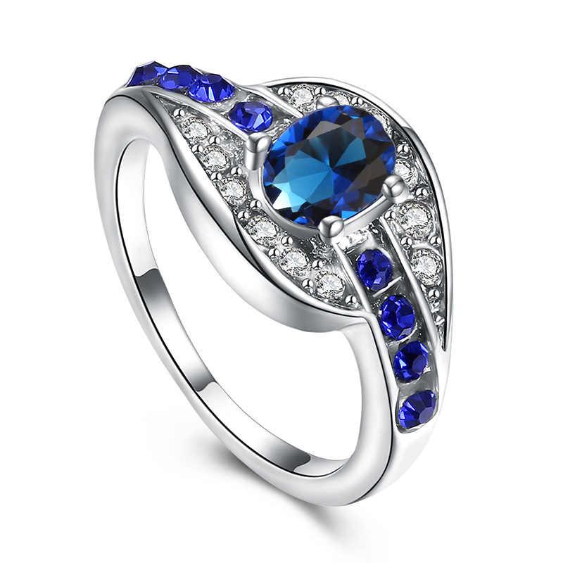 QCOOLJLY ที่ไม่ซ้ำกันเครื่องประดับสีฟ้ารูปไข่ Zircon แหวนหมั้นแต่งงานแหวนเงินสีแหวนผู้หญิงผู้ชาย Bijoux ขนาด 7 8 9
