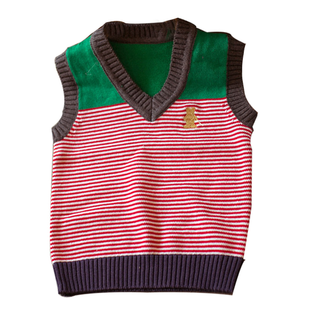 Spring Autumn Children's Sweater Vest Soft Baby Kid Boys Girls Knitted Sweater V-Neck Color Stripe Embroidery Bear Pullovers