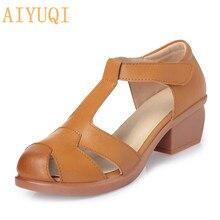 Купить с кэшбэком Plus size 35-43 # genuine leather women's sandals 2017 summer new hollow beef tendon  leisure simple anti-skid shoes women