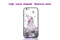 3D Colorful Flower With Diamond Phone Case For IPhone X 6s 7 8 Plus Luxury Glass