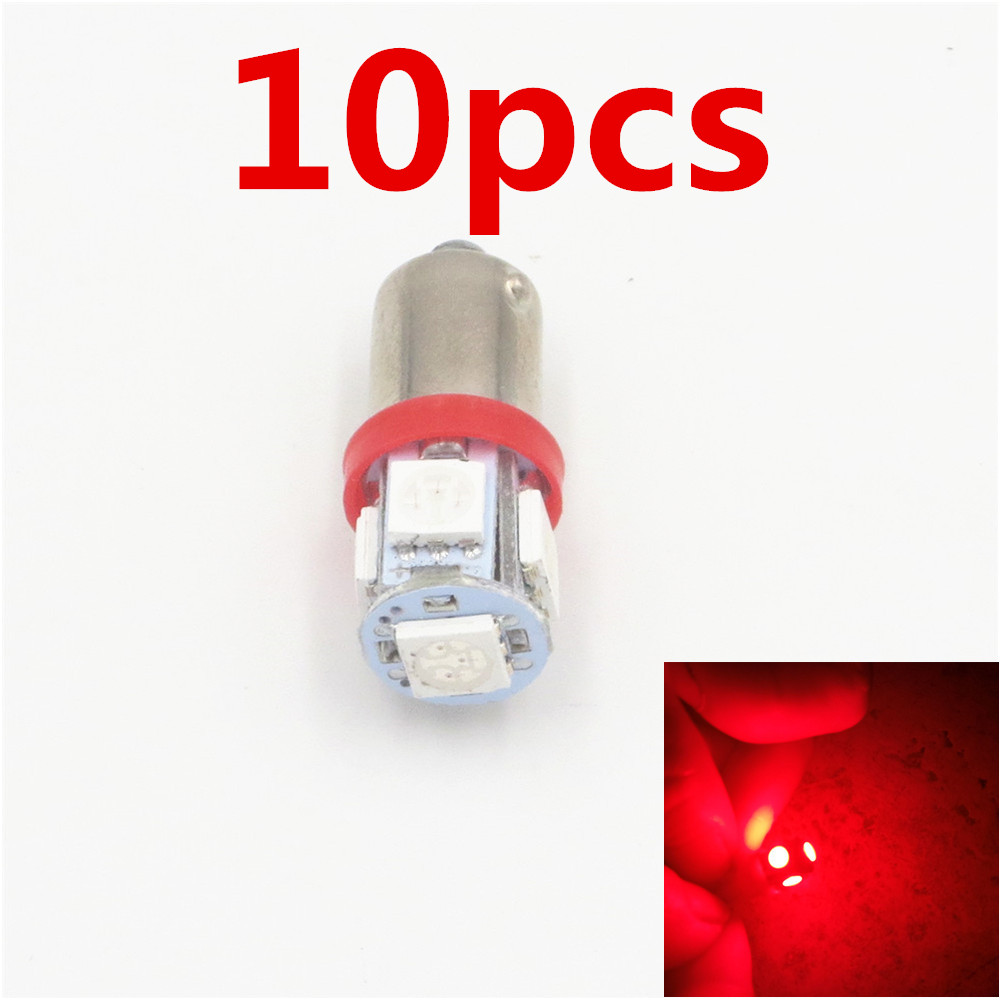 CYAN SOIL BAY 10x Hot Sale BA9S T11 H6W 5 LED 5050 SMD Car Interior Lights Reading Dome Lamp Map lighting Auto Bulbs DC 12V Red