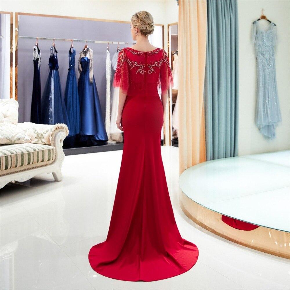 2019 nouvelle robe de bal longue sirène rouge avec perles Top femmes élégante robe de soirée formelle - 4