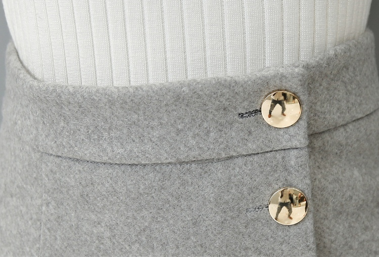 EXOTAO Autumn Winter Midi Skirt Single-Breasted High Waist Warm Saia Feminina Solid Pencil Skirt Office Ladies Fashion Faldas 12