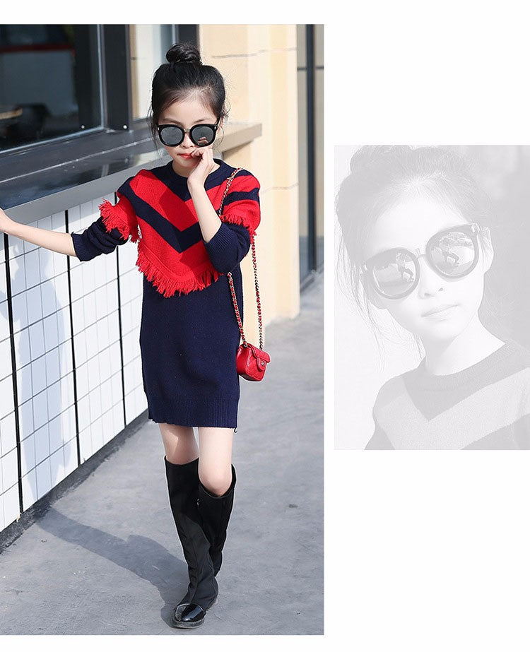 2017 new knitting tassels girls sweater spring autumn winter casual children school clothing preppy style knitted kids sweaters girls dresses 6 7 8 9 10 11 12 13 14 15 16 years old little teenage big girls long sweater dress (12)