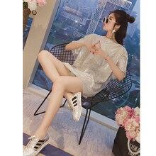 ULzzang Style Women Long Design Shinning tshirts Ins Fashion Bright Short Sleeve T-shirt Girls Tees Top T-shirts