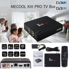 Original MECOOL KIII PRO S2 DVB T2 TV Box Amlogic S912 Octa núcleo Inteligente Android 6.0 3G 16G de Doble Banda WiFi 1000 M Media Player