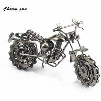 Rétro moto modèle Creative Fer artisanat En Métal moto modèle Ameublement artisanat De Noël décorations Creative enfants