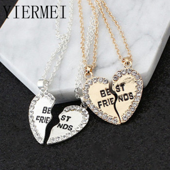 2 pieces / set Half love rhinestone pendant best friend necklace friendship gift for couple good frien dalloy pendant necklace