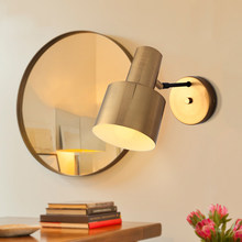 Modern Nordic Wall Sconce Light Copper Gold Lampshade Bedside Wall Reading Lamp Wall Night Light for Bedroom Living Room(China)