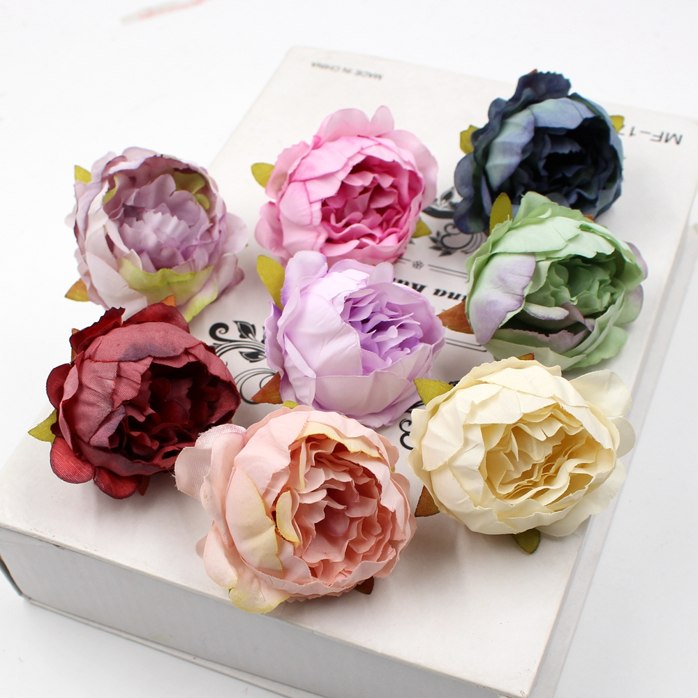 5pcs/lot 5cm High Quality Peony Flower Head Silk Artificial Flower Wedding Decoration DIY Garland Craft Flower(China)