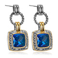 Blue Simulated Topaz 925 Sterling Silver Fashion Earrings TE756