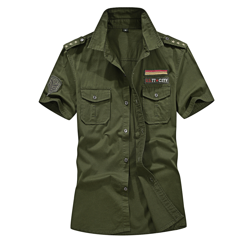 Military Shirt Cargo Shirts Mens Clothes 2018 Summer Casual Solid Short Sleeve Pilot Shirt 100% Cotton Chemise Plus Size M-5XL