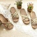 2016 Lino Casa de Verano antideslizantes Transpirable Zapatillas De Interior Las Mujeres \ Floor Beach Casual Vintage Open-Toed Ladies Zapatos de Los deslizadores
