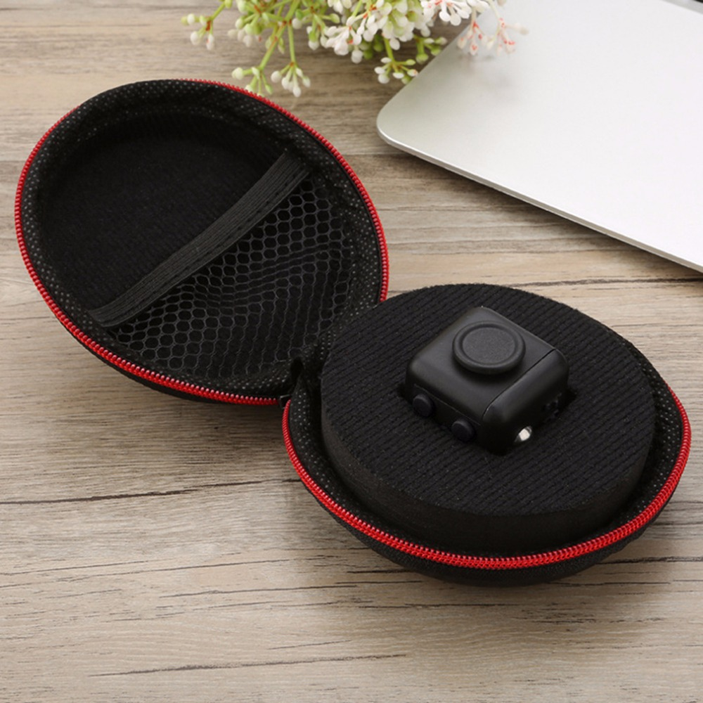 Black Red Nylon Zipper Carry Case Portable Anxiety Stress Relief Toy Gift  Bag Storage Box For